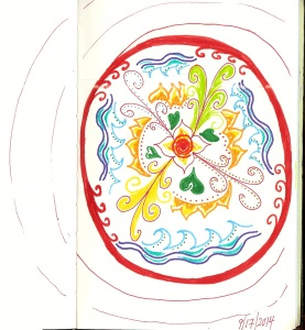Picture of a mandala drawn while meditating on lovingkindness