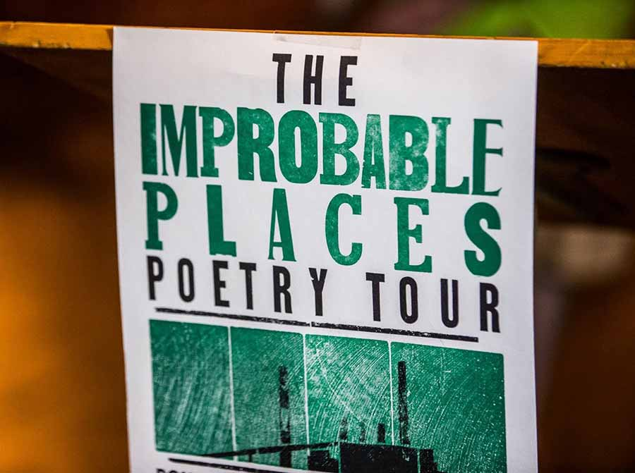 Flyer for Improbable Places Poetry Tour