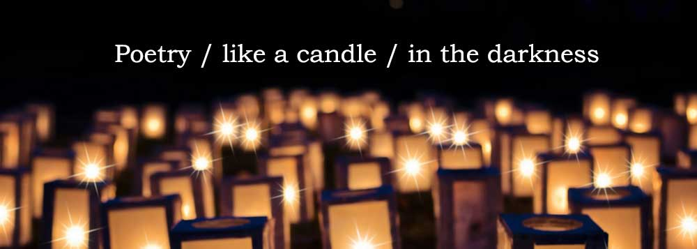 "Image of candle lanterns with the caption ""Poetry like a candle in the darkness"" Photo credit: Jill111 via Pixabay. https://pixabay.com/en/lights-christmas-luminaries-night-1088141/"