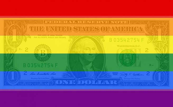 Dollar bill and queer pride flag