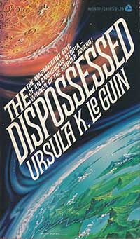 Cover image for the novel The Dispossessed by Ursula LeGuin
